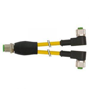 M12 muški ravni 4-polni Y – M12 ženski pod kutom 3-polni konektor, žuti