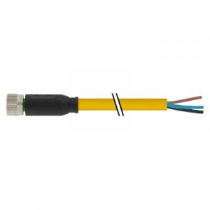 M8 Konektor – ženski ravni, žuti, 3-polni