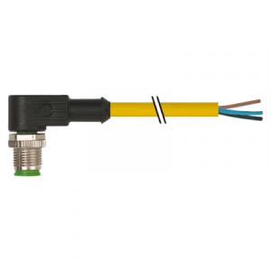 M12 Konektor – muški pod kutom, žuti, 3-polni