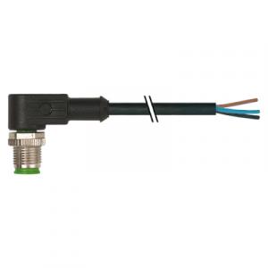 M12 Konektor – muški pod kutom, crni, 3-polni