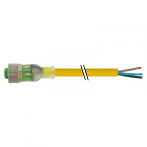 M12 Konektor – ženski ravni, žuti, 3-polni, 2xLED
