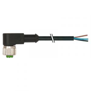 M12 Konektor – ženski pod kutom, crni, 3-polni