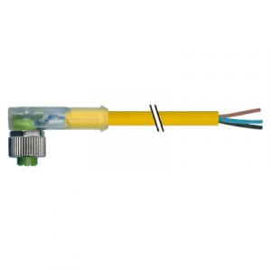 M12 Konektor – ženski pod kutom, žuti, 4-polni, 2xLED