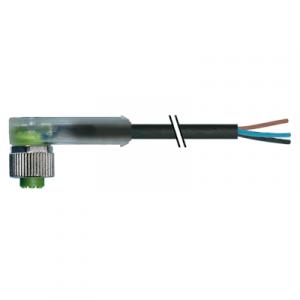 M12 Konektor – ženski pod kutom, crni, 4-polni, 3xLED