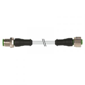 M12 muški ravni – M12 ženski ravni konektor – siva, 12-polni