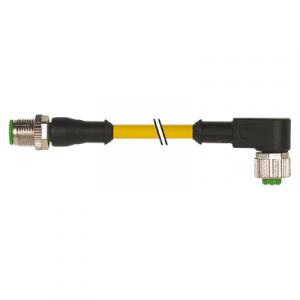 M12 muški ravni – M12 ženski pod kutom konektor – žuti, 3-polni